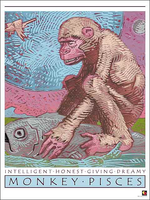Monkey-Pisces Poster