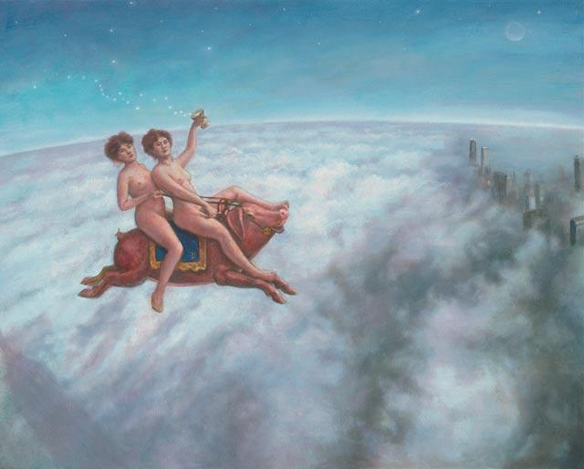 original artwork of twins flying in a pig